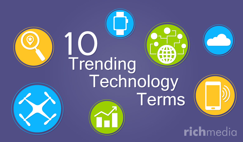 graphics of tech icons and the title 10 trending tech terns you out to know