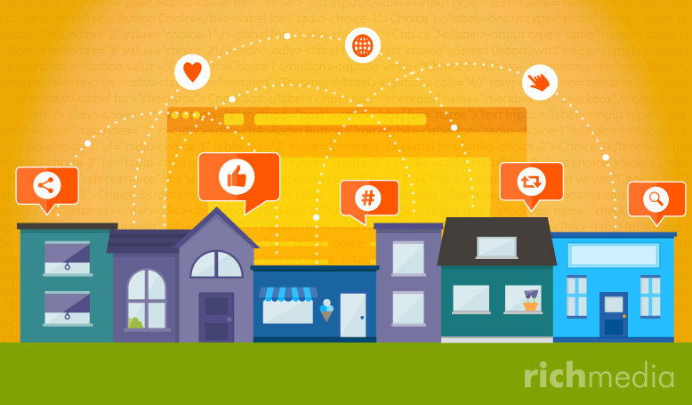 buildings and houses with speech bubbles containing social sharing icons