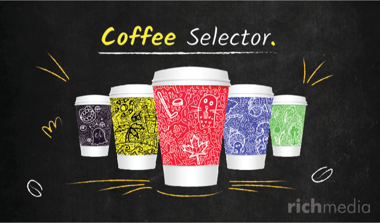 Illustration of different coloured paper coffee cups