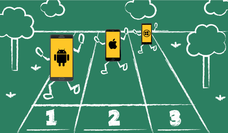 android, apple and windows phones running a race
