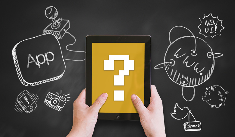 Hands holding a tablet that displays a question mark. On one side of the tablet is an illustration signifying an app and the other is an illustration signifying a website..