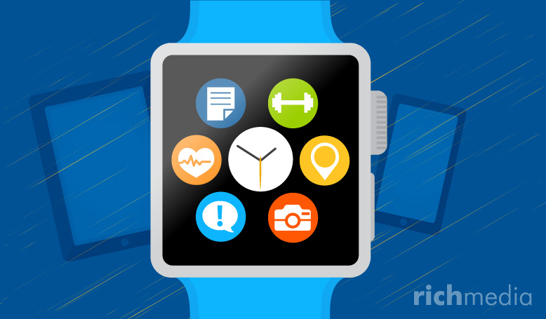 Apple watch illustration with app icons on screen