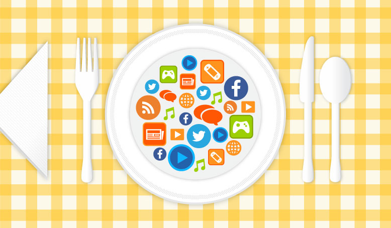 media icons on a plate with silverware beside it