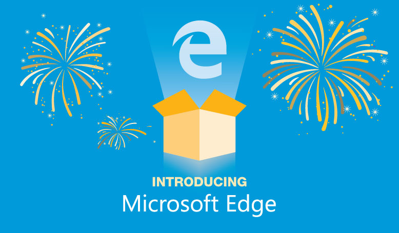 Microsoft Edge logo coming out of a box with fireworks around it