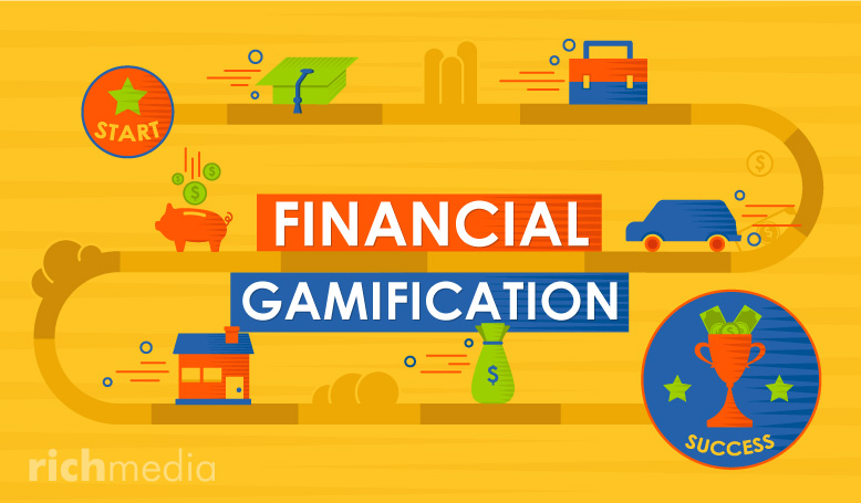 Illustration of a game-board with financial icons - piggy bank, coins, house, car