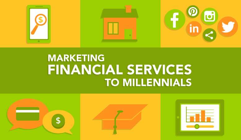 illustration of the millennials goals (graduation, house) and ways to market to them (social media, mobile first)