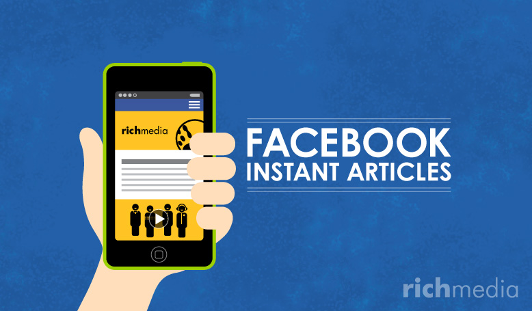 hand holding phone with a facebook instant article that has Rich Media branding